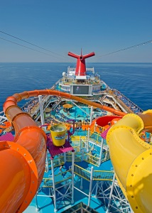 The WaterWorks aqua park on Carnival Cruise Lines' Carnival Breeze is a main feature of the featuring  a 312-foot-long Twister waterslide, right, and the DrainPipe slide attraction (left). Photo by Andy Newman/Carnival Cruise Lines