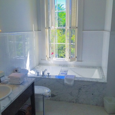 Soaker tub and fabulous natural lighting from the tall windows.