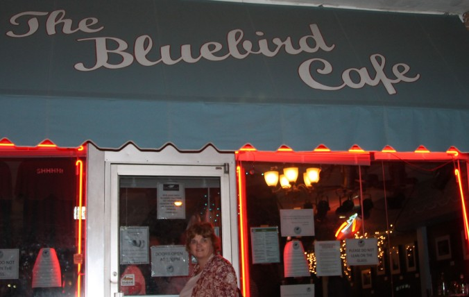 Stopping for a photo at The Bluebird Cafe